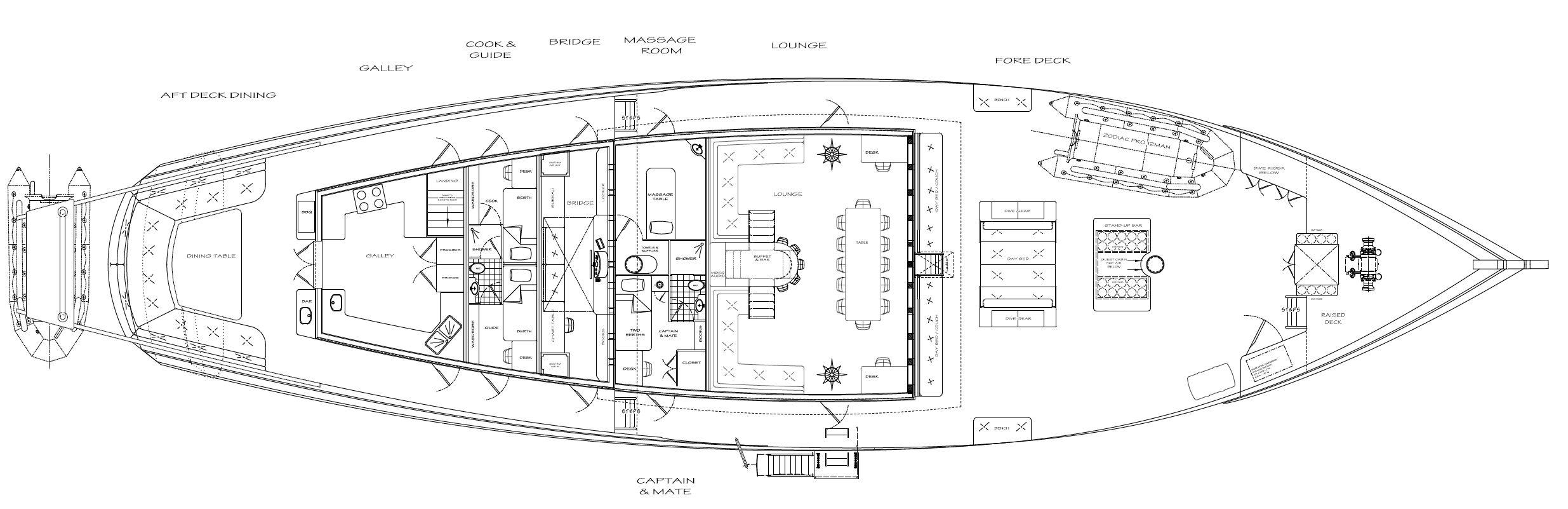 36m Lombok Privateer Deck Plan - Kasten Marine Design, Inc.