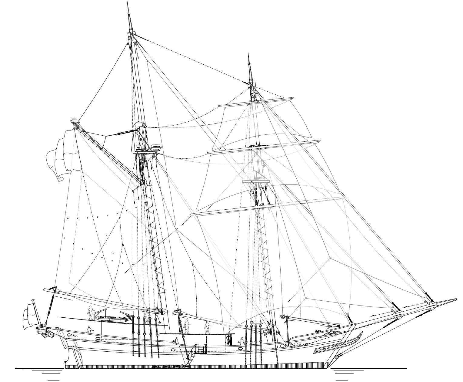 36m Lombok Privateer Sail Plan - Kasten Marine Design, Inc.